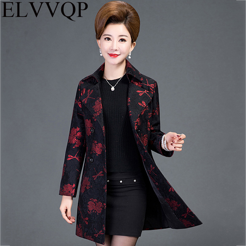 New Spring Autumn Elegant Printing Windbreaker jacket Middle-aged Womens Mother Long section Plus Size Outerwear Coat Women