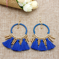 Bohemia Style Drop Earring 2016 New Trendy Fashion Small Bead Beauty Shining  Long Tassel Earring for Party  FE0001
