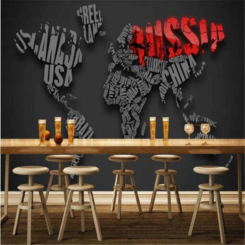Personality Design Custom Mural 3D English Alphabet Wallpaper for Walls 3D World Map Black Wall Covering Living Room Home Decor oxford phonics world 1 the alphabet cd rom
