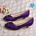 Wedopus MW933 Women Pumps Wedding Shoes Bride Purple Low Heeled Large Size