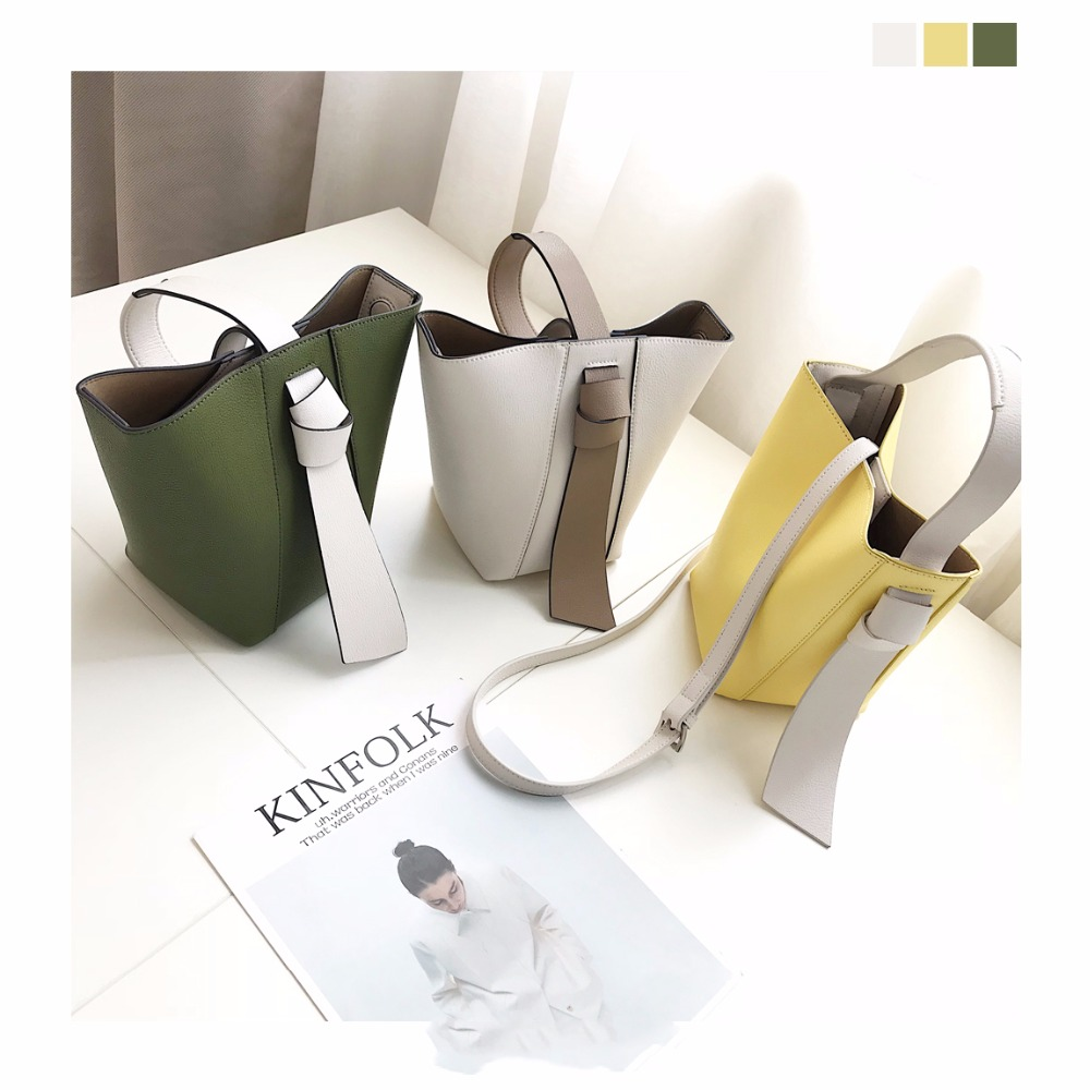 [Hely Coptar] Genuine Leather Cow Korea Style Bucket Bags Lining Small Canvas Summer Designer Patchwork