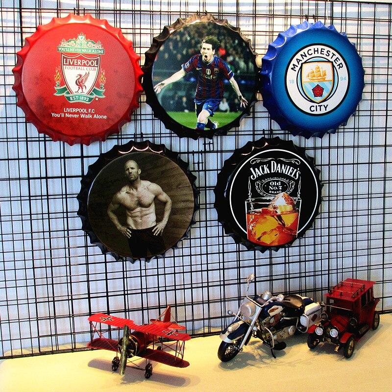 Retro beer cap wine bottle cap bar decoration creative personality wall three dimensional pendant wall football giants