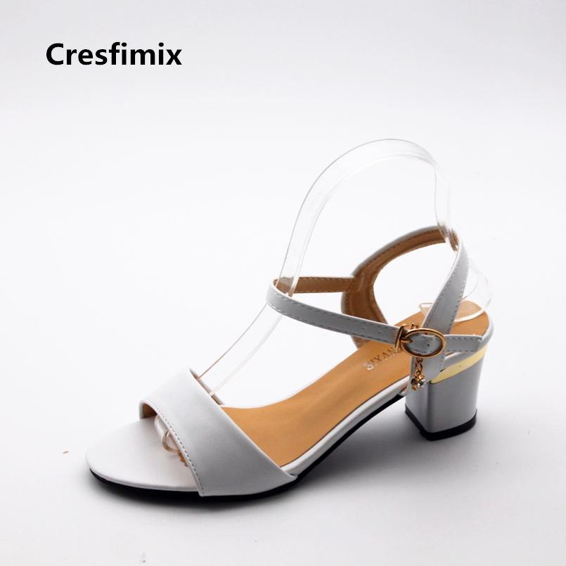 Cresfimix sandalias de mujer women fashion spring & summer comfortable white sandals lady cute buckle strap high heel sandals cresfimix women cute spring