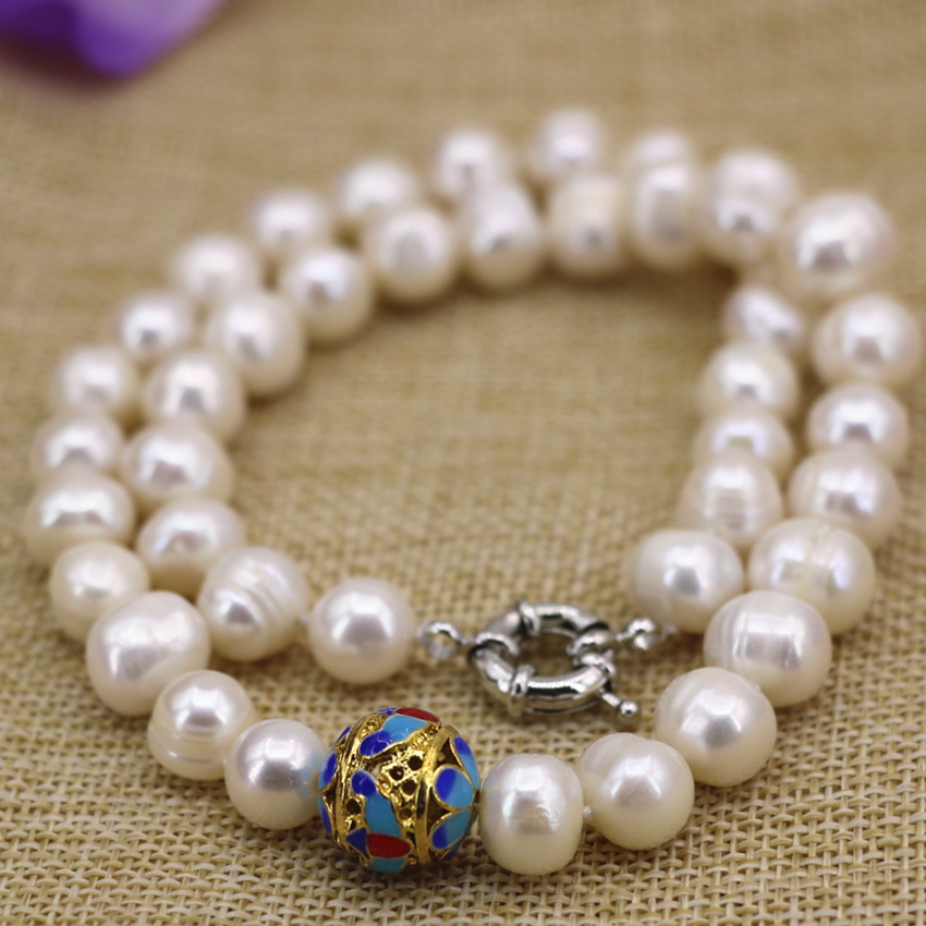 10 11mm Natural Freshwater Cultured Pearl Beads Necklace Elegant Women Bride Gift Gold Plated Cloisonne Diy