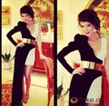 Amazing Black-White One Shoulder Long-Sleeves With Sash High Low Floor Length Saudi Arabic Celebrity Dresses