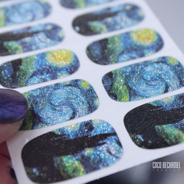 14Tips / Sheet Nail Wraps Van Gogh's Sky Nail Art Decals DIY Schoonheid Manicure Decoratie Stickers Nail Tattoo