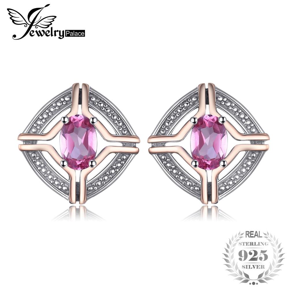 SmyckenPalace Klassisk 1ct Ovala Form Natural Rosa Topaz Stud Örhängen För Kvinna 100% 925 Sterling Silver Vintage Fine Smycken