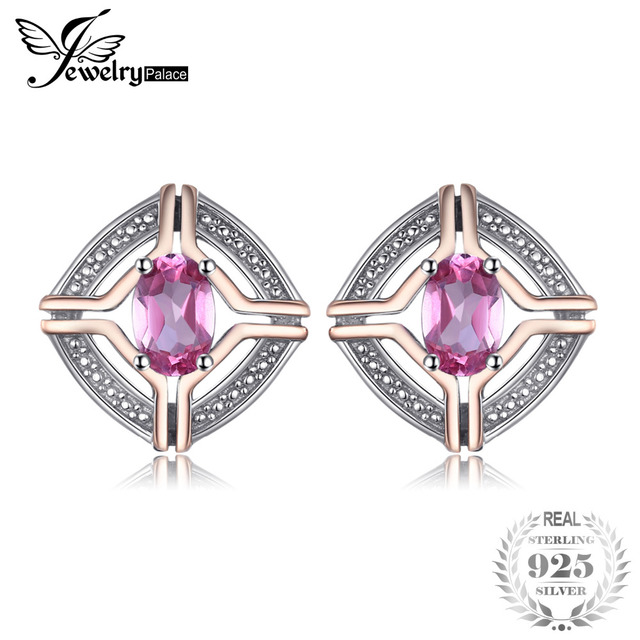 JewelryPalace Classical 1ct Oval Shape Natural Pink Topaz Stud Earrings For Woma
