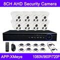 Venda quente 720 P/960 P/1080N 4CH/8CH Indoor Dome AHD CCTV KITS de Câmera De Segurança Com Controle remoto Frete Grátis