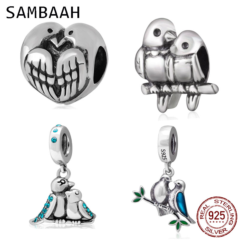 Sambaah Love Birds Twotone Charm 925 Sterling Silver Couple Birds Love Beads fit Original Pandora Valentine 39 s Day Bracelet in Beads from Jewelry amp Accessories