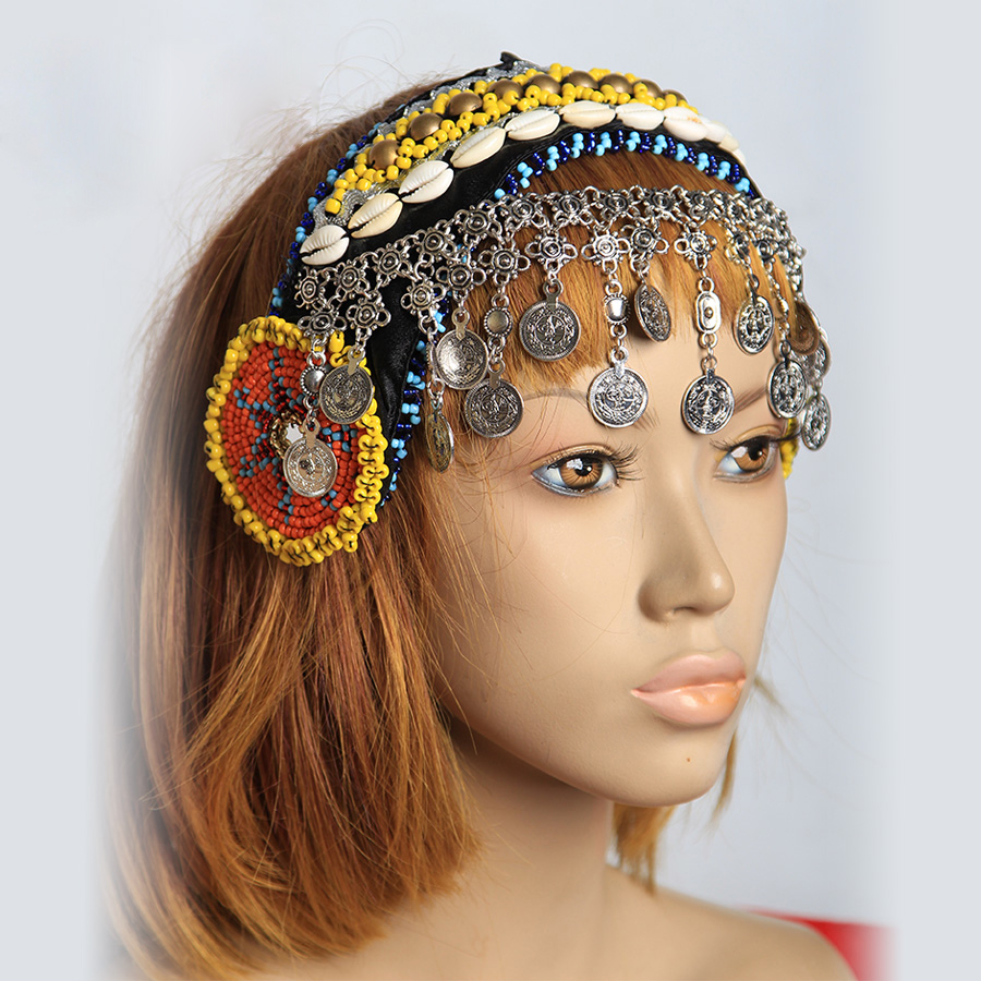 New Arrivals Gypsy Dance Women Beads Headpiece Metal Head Chains Coins Vintage Jewelry Tribal Belly Dance Accessories