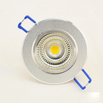 led downlight  Recessed cob dimmable 3W 5W 7W 10W Silver aluminum case AC 220V 110V spotlight ceiling lamp  Free Shipping