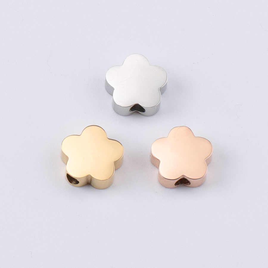 20 шт. 8 мм золото/сталь цвет нержавеющая сталь Маленький Пустой цветок бусы