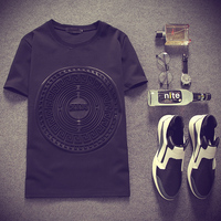 2016 Summer Japan Style 3D Printed Space Cotton Short Sleeve T Shirts Black White Street Punk