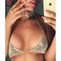 Reaqka Crystal Diamond Chest Chain Sexy sequin Summer Crop Tops Women Camis Cropped Bralette Party Vest T Shirt Blusa 2017 New