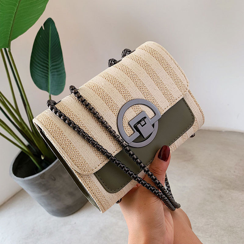 Fashion Wild Straw Braided Messenger Bag Korean Version of The Ocean Chain Shoulder Bag 2019 Summer New Women 39 s Bag in Shoulder Bags from Luggage amp Bags