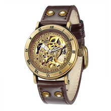 SHENHUA 2018 Mens Watches Retro Bronze Tone Skeleton Steampunk Male Clock Automatic Casual Wristwatch Relogio Masculino