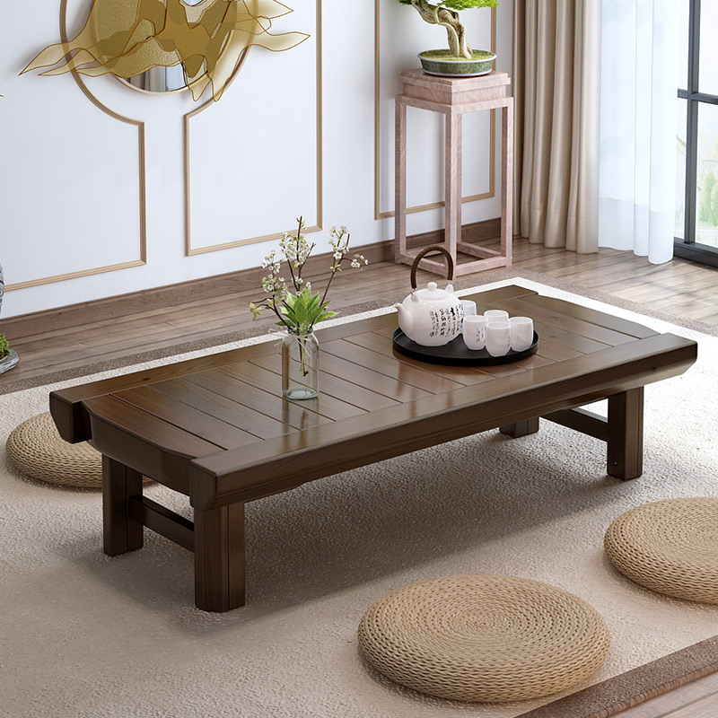 Vintage furniture wooden table folding legs rectangle - Living room with wooden furniture ...