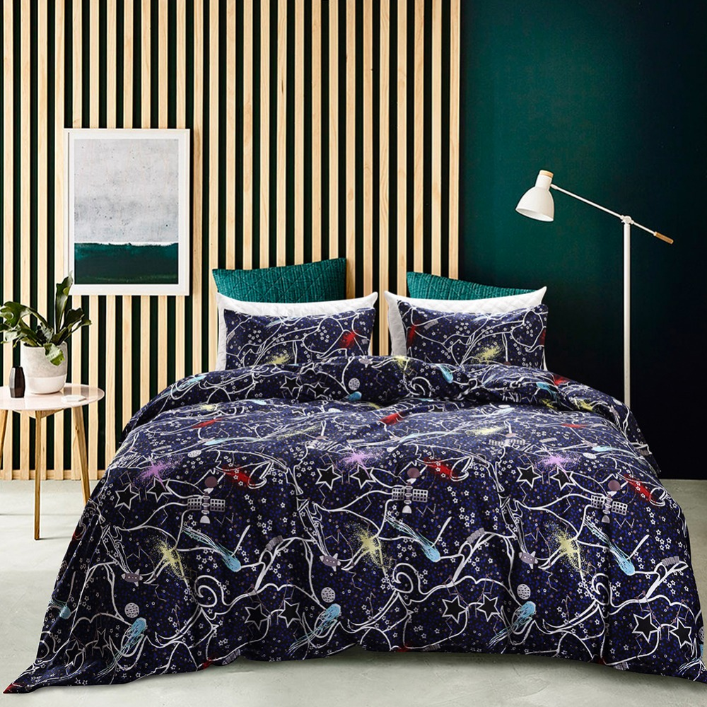 Galaxy Universe Stars Pattern Reactive Printed Duvet Cover