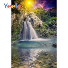 Yeele Natural Spring Waterfall Sun Tree Green Wallpaper Scenic Photography Backgrounds Photographic Backdrops For Photo Studio