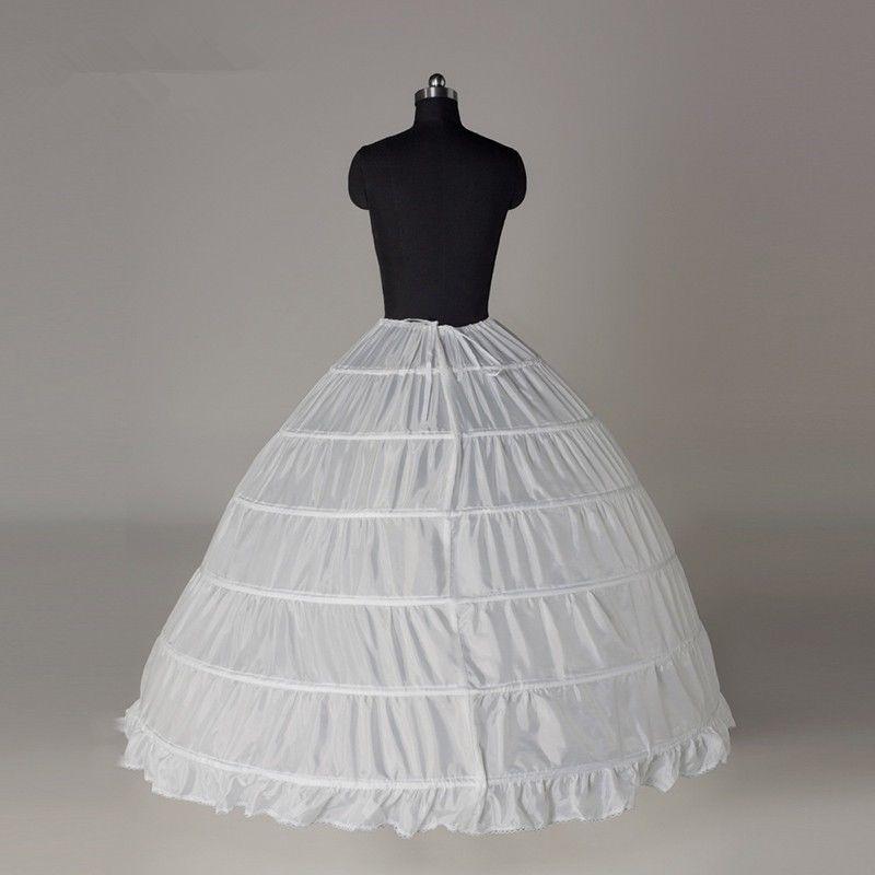 6 Hoop Crinoline Black Long Wedding Petticoat Ball Gown Underskirt Skirt Full Slips Bridal Accessories 2020