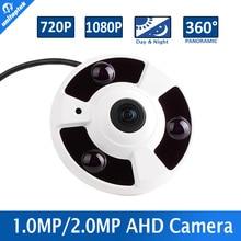 Panoramic 360 Degree View CCTV AHD Camera 1MP 2MP Analog HD Fisheye Lens Panorama 720P 1080P Security AHD Camera IR 10m,Metal