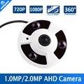 Vista panorámica de 360 Grados CCTV AHD Cámara de 2MP 1MP Analógico HD Panorama Fisheye Lente 720 P 1080 P AHD Cámara de Seguridad IR 10 m, Metal