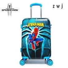 Детский чемодан на колесиках с мультипликационным принтом, Жесткая Сторона, багаж для мальчика, студенческий багаж с человеком-пауком для фанатов-героев