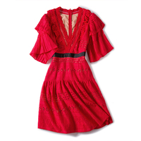 2018 Elegnat White Red Lace Mini Dress Women Tunic Summer Runway Boho Deep V Neck Hollow out Sexy Tunic Party Dresses Clothing
