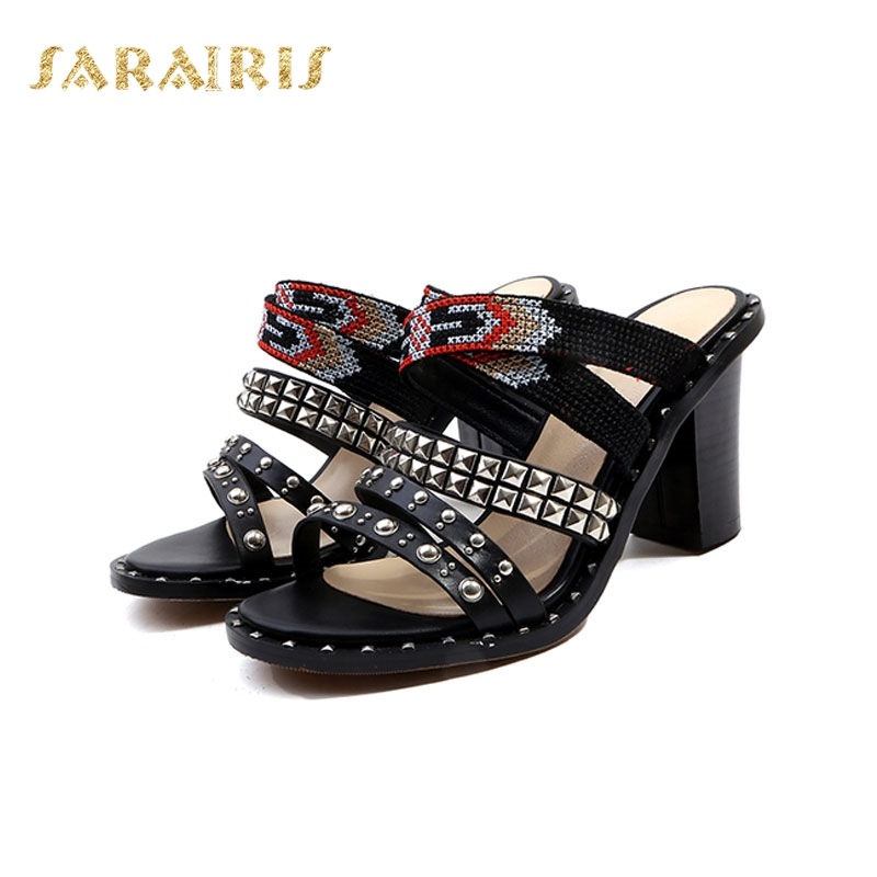 a7697e36c3b Woman High Sandals Style Summer Belt Rivet Open Slipper Size Platform Chunky  Heel Strap 34 Beading ...