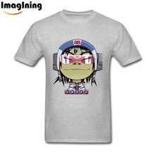 Cartoon Print Small Size Noodle Fanart Gorillaz t shirt Natural Cotton Male White Short Sleeve Tops