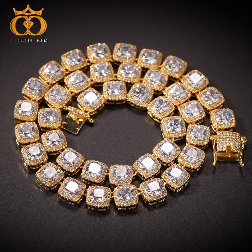 Plaqué AAA CZ chaînes de Tennis collier Hip Hop Bling chaîne glacé rond 10mm cubique zircone simple fermoir bijoux de mode