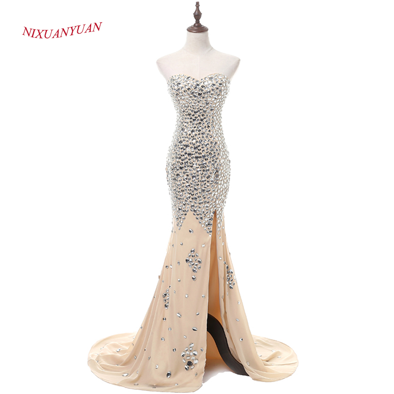 NIXUANYUAN 2017 New Custom Made Luxury Crystal Mermaid   Prom     Dress   2017 Chiffon Party   Dress   Sexy Side Split vestidos de baile Hot