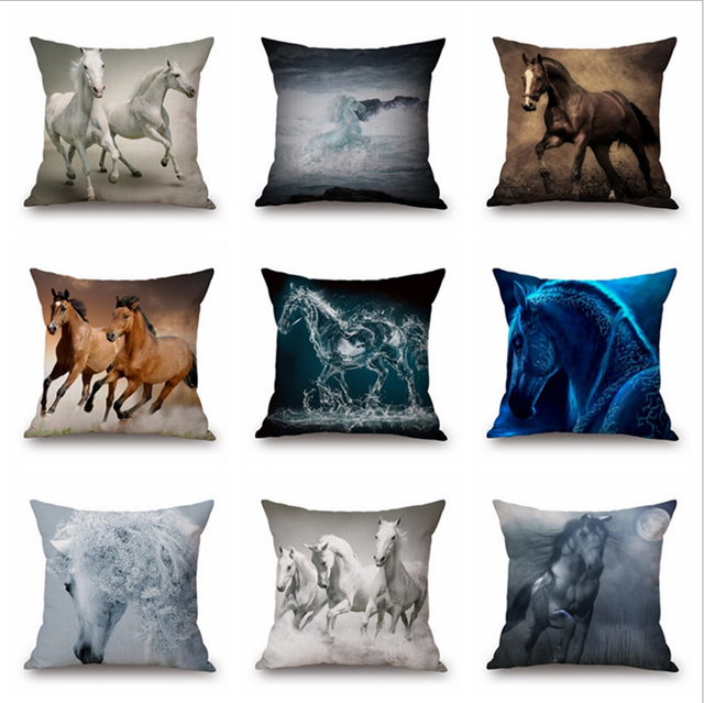 sofa box cushion covers mini set olx 18in horse colorful running linen cotton pillow square cover decorative