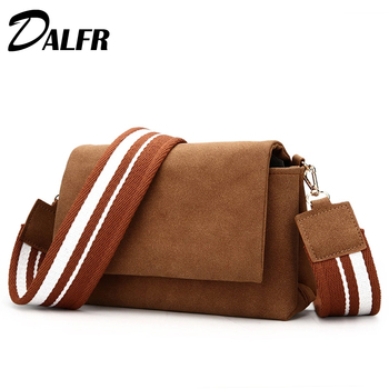 DALFR Women PU Leather Shoulder Bag Designer Crossbody Bag Fashion Women Messenger Bags with Colorful Strap