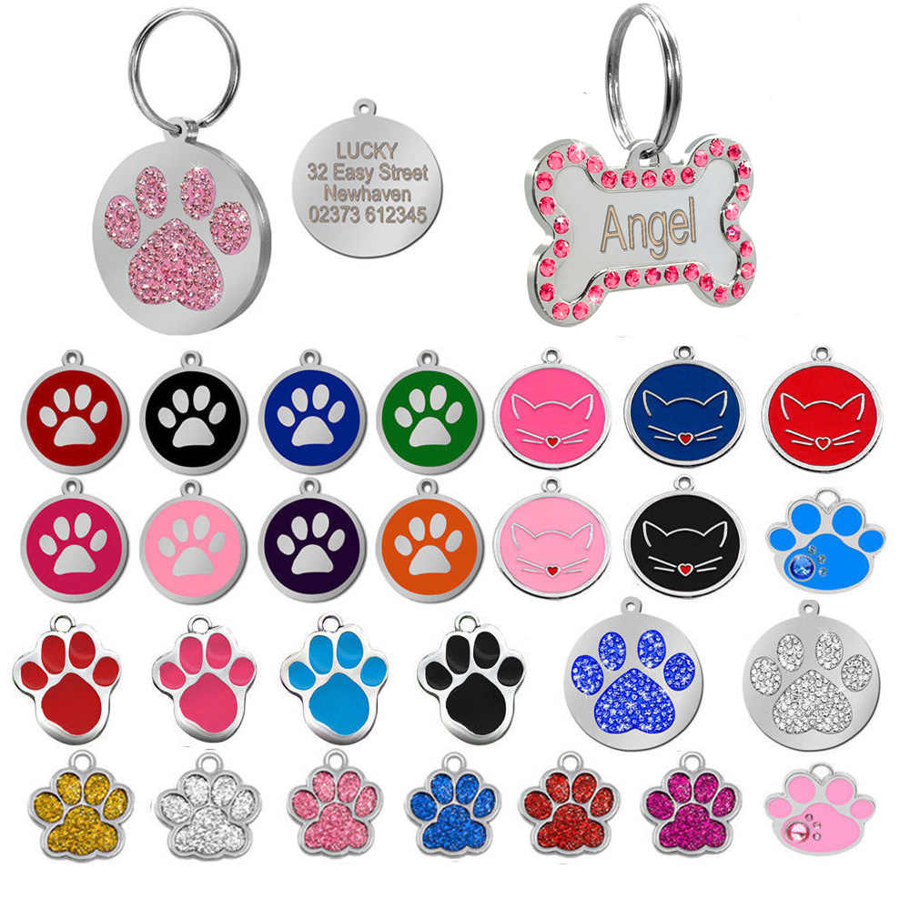 Dog Tag Inciso Accessori Del Collare di Cane Dell'animale Domestico Personalizzato Personalizzato Cat Puppy ID Tag In Acciaio Inox Osso Zampa Nome Tag Anti -perso