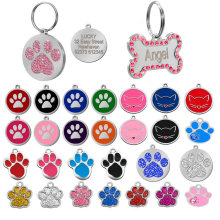 Dog Tag Inciso Accessori Del Collare di Cane Dell'animale Domestico Personalizzato Personalizzato Cat Puppy ID Tag In Acciaio Inox Osso Zampa Nome Tag Anti -perso(China)