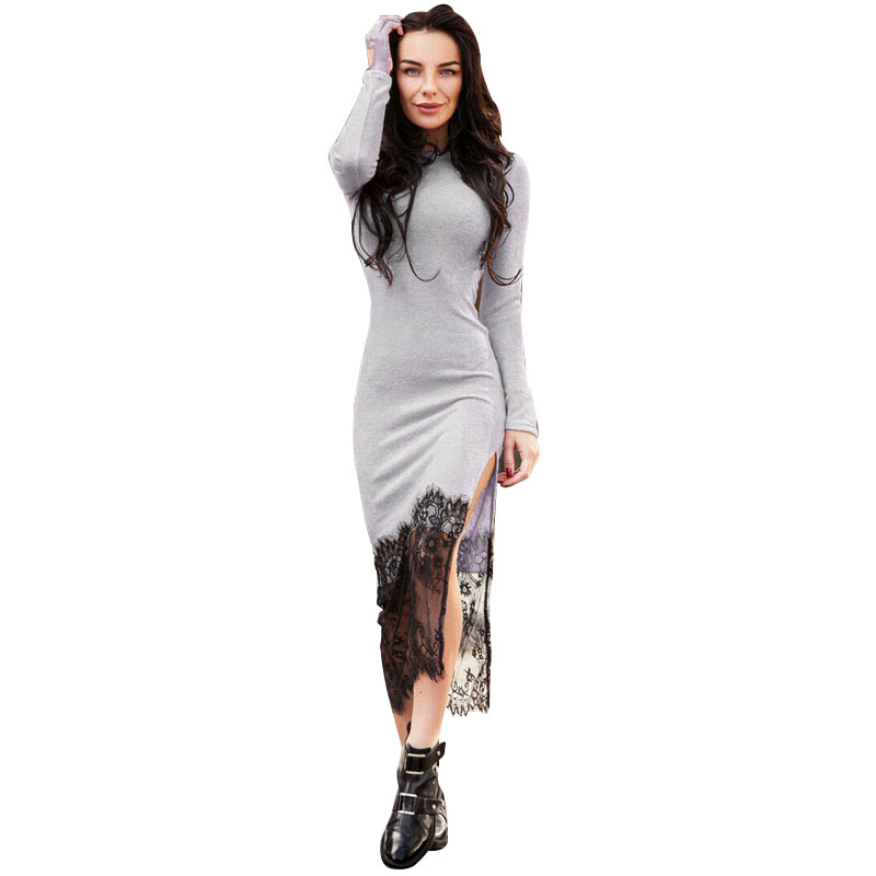 Women's Elegant Split Lace Stitching Knitted Bodycon Dress Ladies Solid Long Sleeve Sexy Maxi Long Dresses