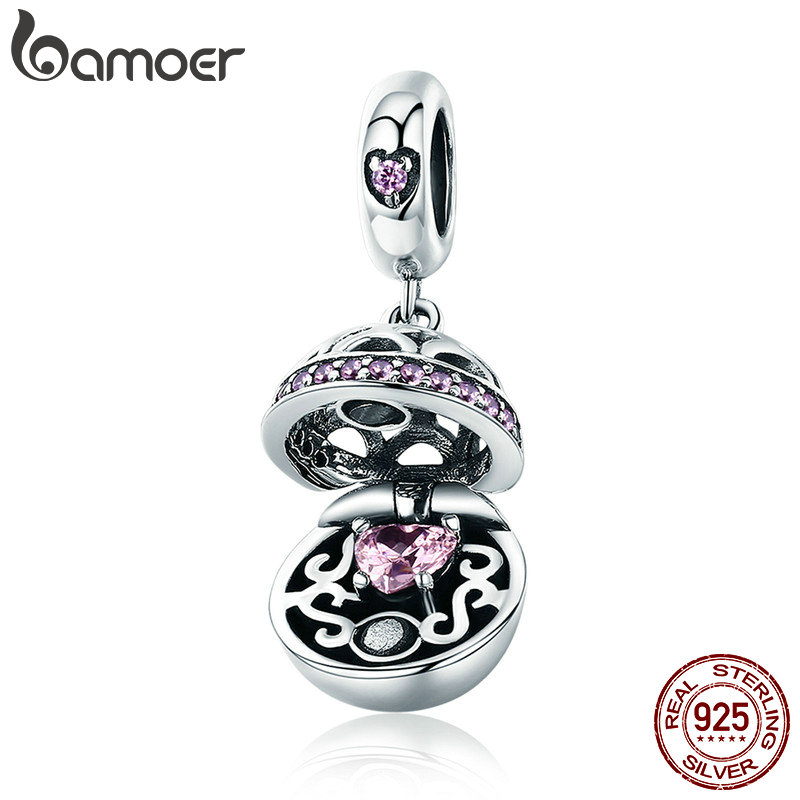 BAMOER Authentique 925 En Argent Sterling Amour Cadeau Boîte Balancent Boule Charme Pendentif fit Femmes Charme Bracelet & Colliers Bijoux SCC689