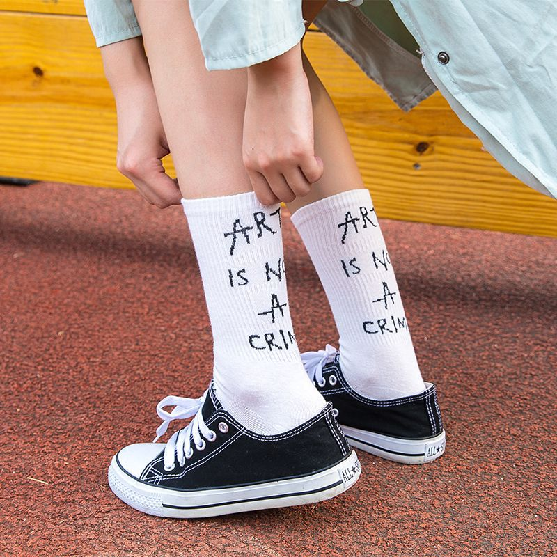Street Style Harajuku   Socks   Women Letters Japanese Fashion School Girls Warm Custom Hosiery Crew Art   Sock   Halloween Christmas
