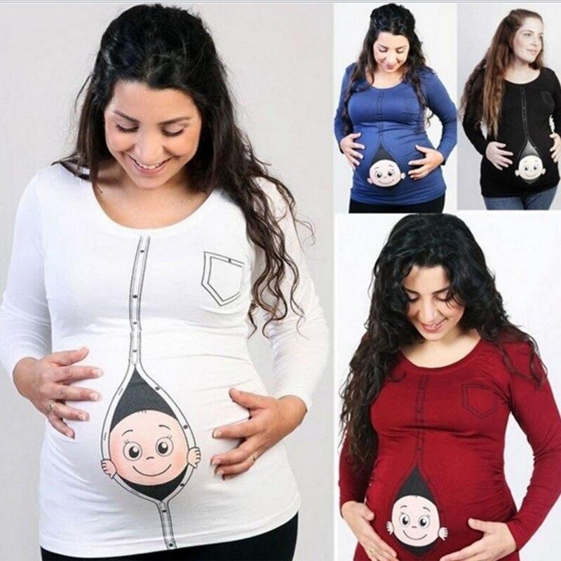 71540f7c0 2017 nueva maternidad embarazo ropa bebé impresión divertida maternidad  embarazada camiseta más tamaño europeo embarazo camisa