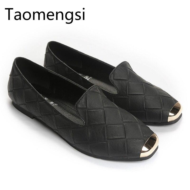 Casual-Shoes Fashion Metal Lattices Square-Head Imitation Female Wholesale Size-33-43