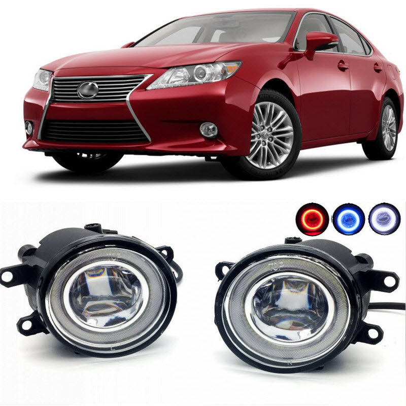 2 in 1 LED Angel Eyes DRL 3 Colors Daytime Running Lights Cut-Line Lens Fog Lights Lamp for Lexus ES 300h ES 350 2013 2014 2015 car styling 2 in 1 led angel eyes drl daytime running lights cut line lens fog lamp for land rover freelander lr2 2007 2014