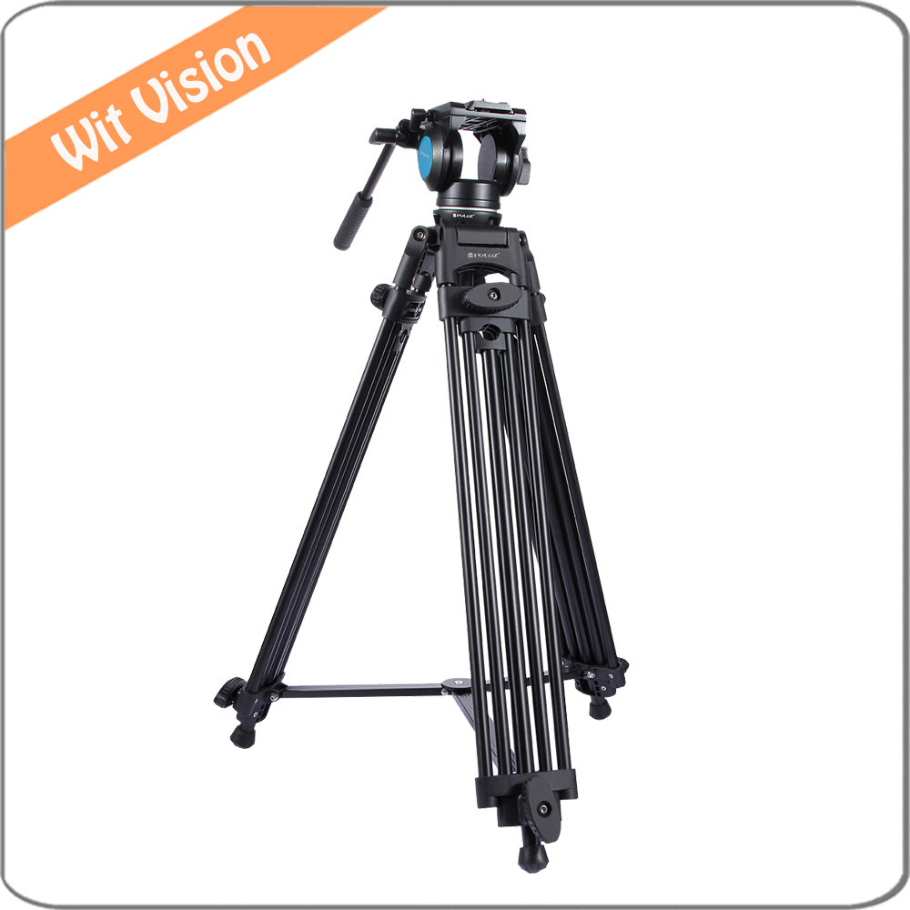PULUZ 3 in 1 Professional Heavy Duty Video Camcorder Aluminum Alloy Tripod Mount Kit for DSLR Camera and Camcorder new wf718 professional video tripod dslr camera heavy duty tripod with fluid pan head for canon nikon sony camera camcorder dv