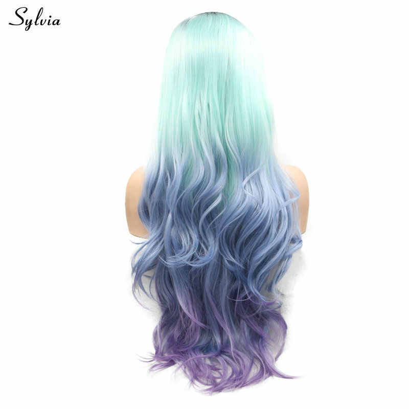 Sylvia Glueless Heat Resistant Pastel Green/Blue/Purple Ombre Synthetic Lace Front Wigs With Dark Roots For Women Long Wavy Hair