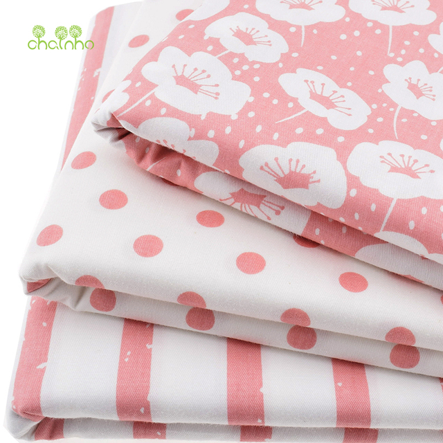 3pcs Lot Printed Twill Cotton Fabric For Sewing Quilting Baby Tissue Children Bed Sheet Sleepware Curtain Material Pink 40x50cm