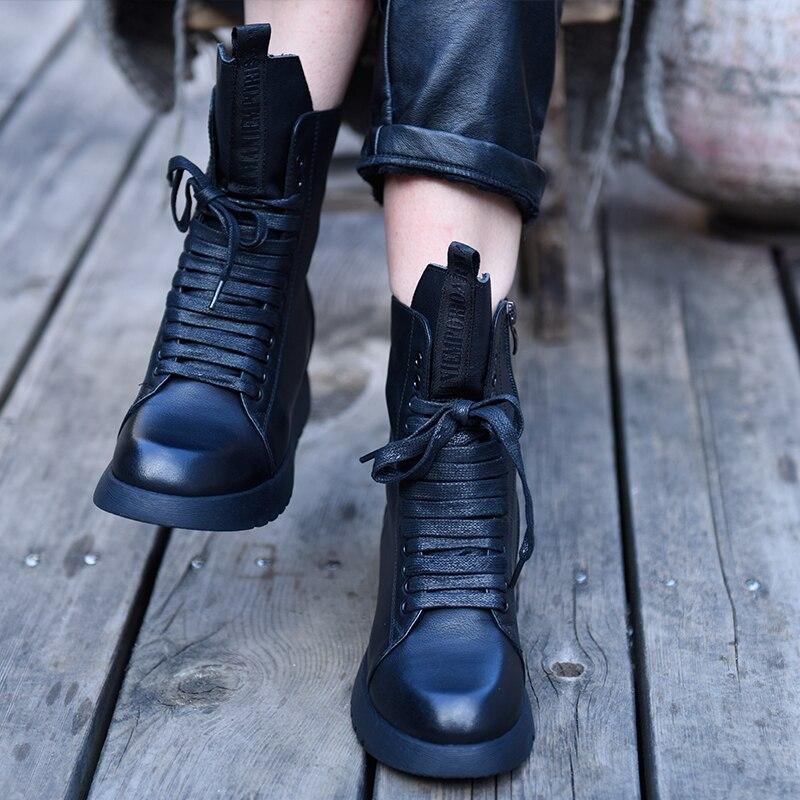 Vrouwen Enkellaarsjes Sandalen Leer Echt Zomer Schoenen Martin Boot Hoge Hakken Platform Vrouwen Zwarte Motorfiets Laarzen Wig Sandaal-in Enkellaars van Schoenen op  Groep 1