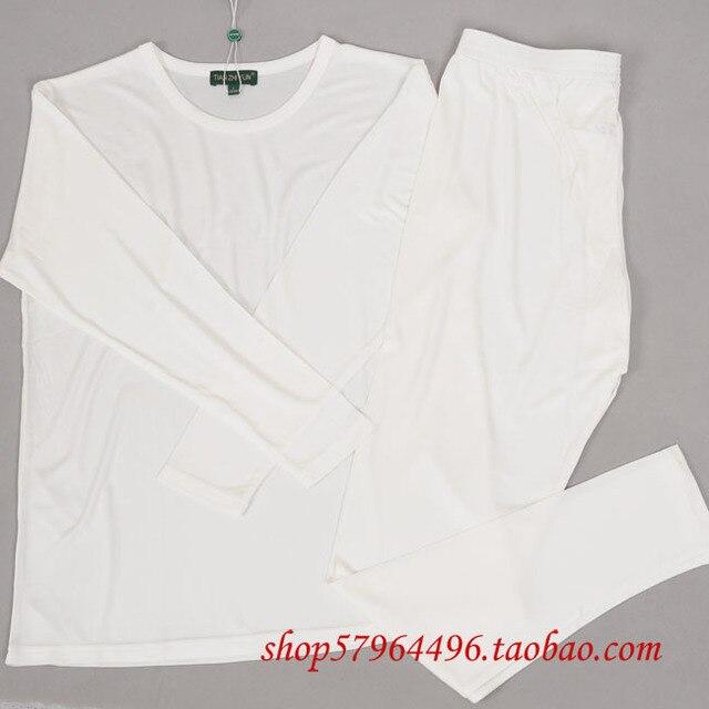 High quality pure silk ultrafine knitted lining basic shirt pants silk underwear set male