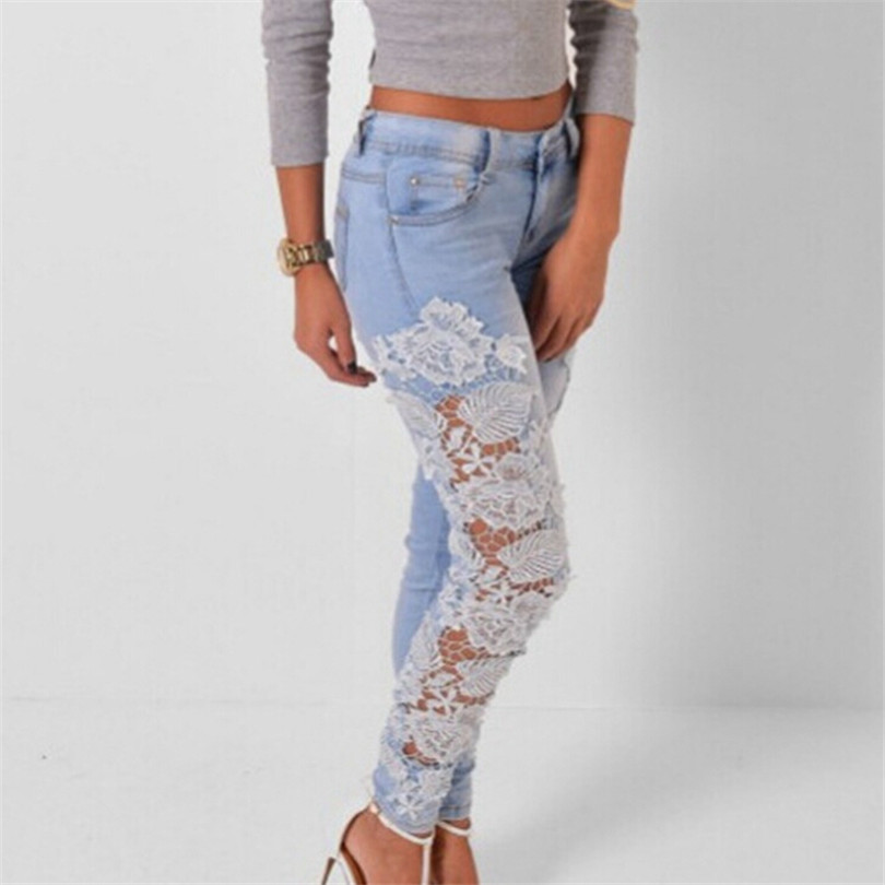 S-XXXL Jeans Carve Flower Skinny Women Slim Lace Pencil Zipper Pant Female Feet Pants Crochet Stretch Denim Hollow Clothing K096