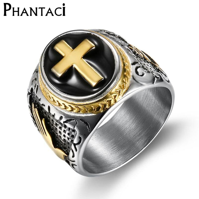 Big Vintage Cross Black Stainless Steel Rings For Men Retro Punk Silver & Gold Color Titanium Male Ring Brand Finger Jewelry